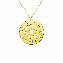 Naszyjnik Duże Słońce z Greckim Wzorem Srebro 925 Pozłacany 24 karatowym złotem