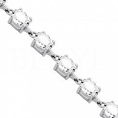 Bransoletka z białym topazem srebrna