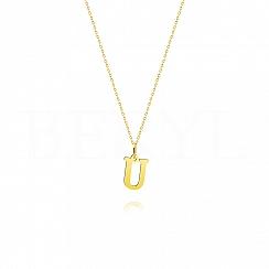 Naszyjnik złoty z literką U 1cm, łańcuszek ankier regulowany