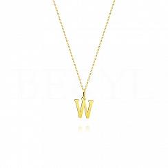 Naszyjnik złoty z literką W 1cm, łańcuszek ankier regulowany