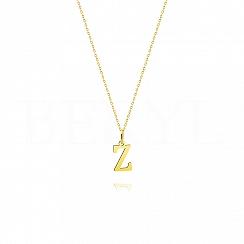 Naszyjnik złoty z literką Z 1cm, łańcuszek ankier regulowany