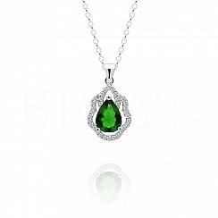 Zawieszka srebrna z zieloną cyrkonią