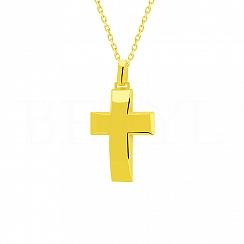 Zawieszka duży krzyż srebro pozłacane 24 karatowym złotem