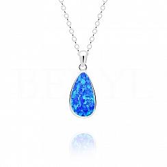 Zawieszka srebrna z opalem niebieskim łezka wisząca