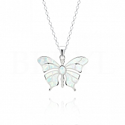 Zawieszka srebrna z białym opalem motyl