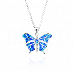 Zawieszka srebrna z niebieskim opalem motyl
