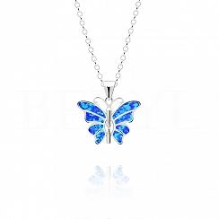 Zawieszka srebrna z opalem niebieskim motyl