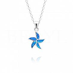 Zawieszka srebrna z niebieskim opalem rozgwiazda