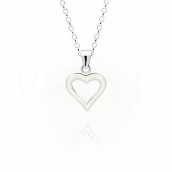 Zawieszka srebrna z białym opalem serce