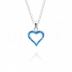 Zawieszka srebrna z niebieskim opalem serce