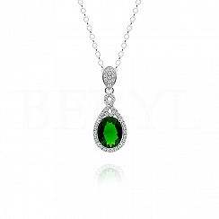 Zawieszka srebrna z cyrkonią zieloną