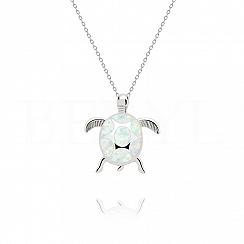 Zawieszka srebrna z białym opalem żółw