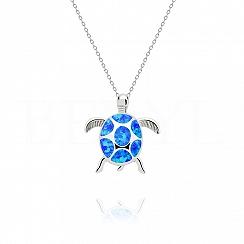 Zawieszka srebrna z niebieskim opalem żółw