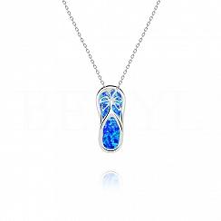 Zawieszka srebrna z opalem niebieskim klapki