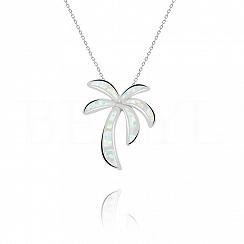 Zawieszka z opalem białym srebrna palma