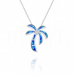Zawieszka z opalem niebieskim srebrna palma