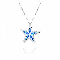 Zawieszka srebrna z opalem niebieskim rozgwiazda