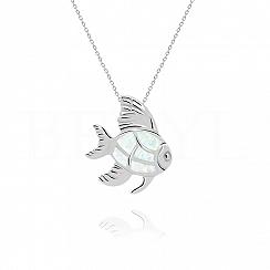 Zawieszka srebrna z białym opalem ryba