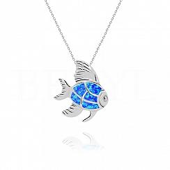 Zawieszka srebrna z niebieskim opalem ryba