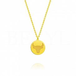 Naszyjnik znak zodiaku byk srebrny pozłacany dwustronny
