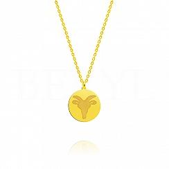 Naszyjnik znak zodiaku koziorożec srebrny pozłacany dwustronny