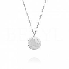 Naszyjnik znak zodiaku lew srebrny dwustronny