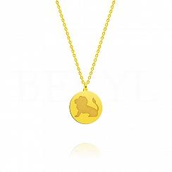 Naszyjnik znak zodiaku lew srebrny pozłacany dwustronny