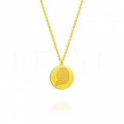 Naszyjnik znak zodiaku panna srebrny pozłacany dwustronny