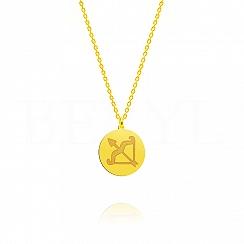 Naszyjnik znak zodiaku strzelec srebrny pozłacany dwustronny