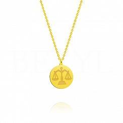 Naszyjnik znak zodiaku waga srebrny pozłacany dwustronny