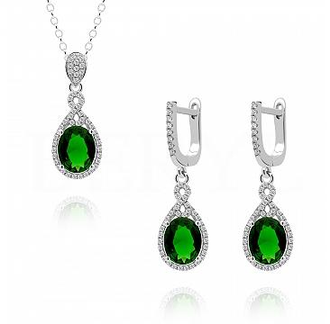 Komplet srebrny z cyrkonią zieloną - kolczyki z zawieszką