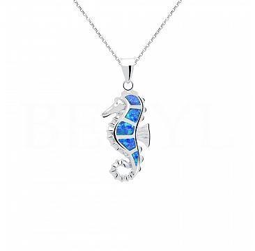 Zawieszka srebrna z niebieskim opalem konik morski