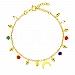 Bransoletka srebrna pozłacana z księżycem i kolorowymi kryształkami